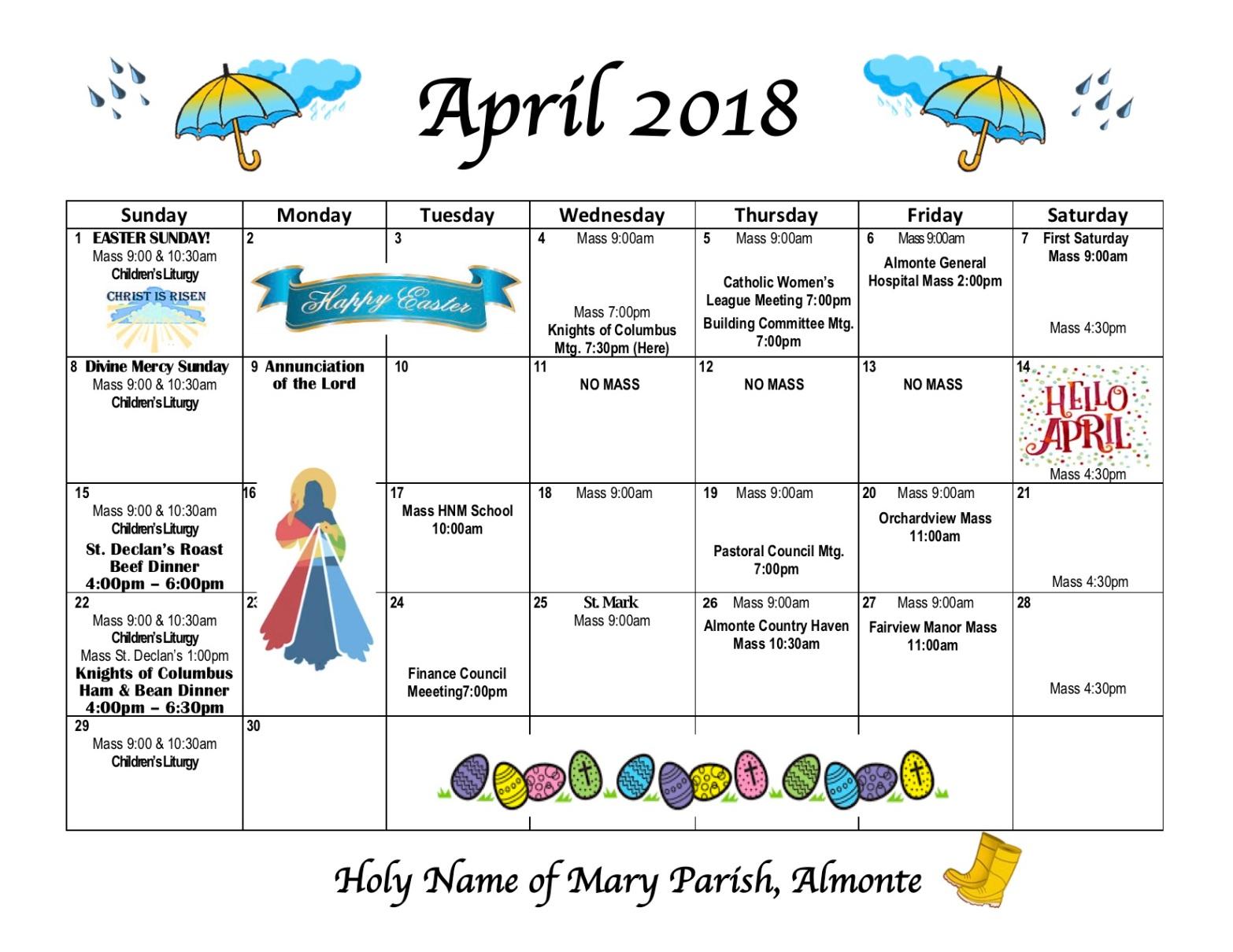 Calendar - April 2018