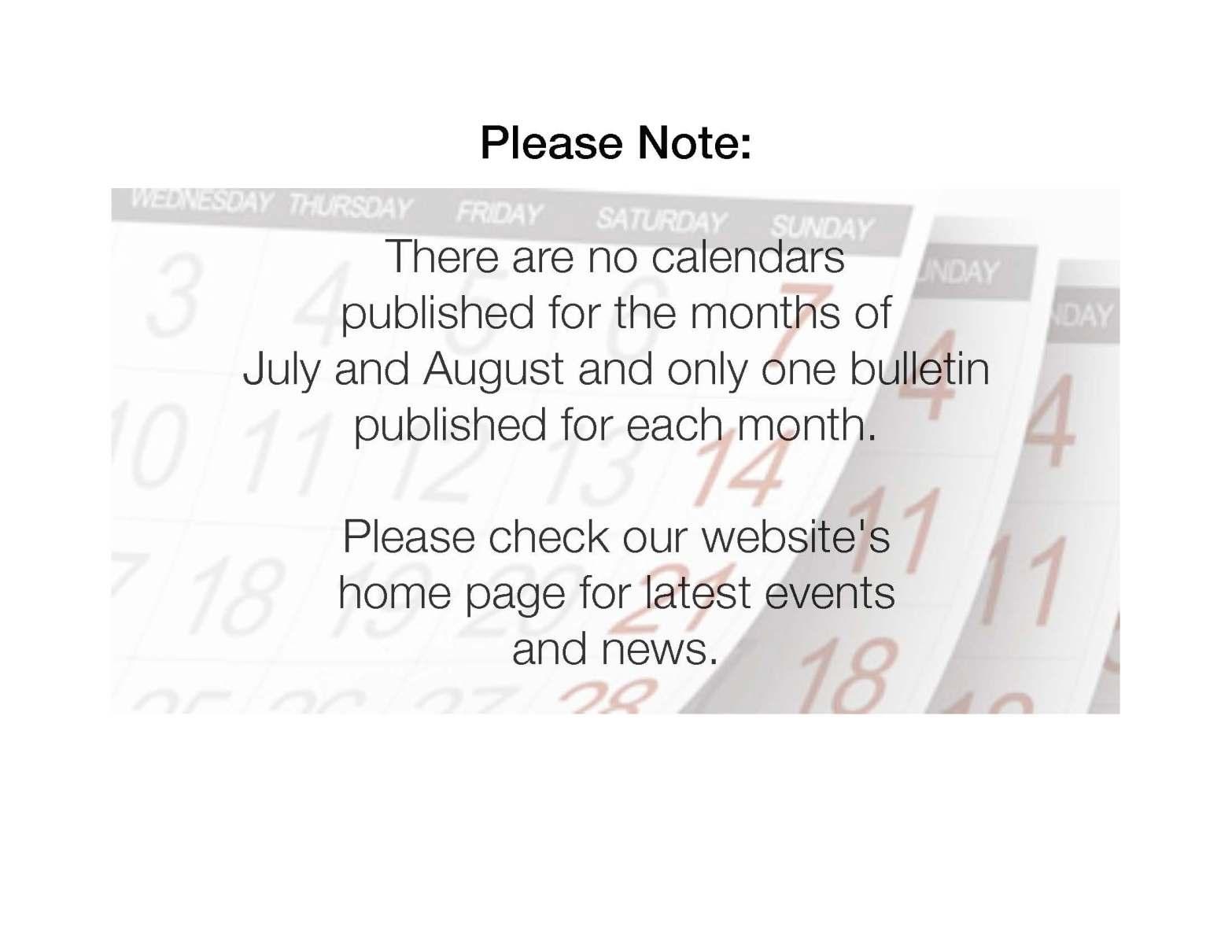 No Calendar or bulletin